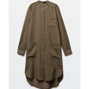 Aritzia Khaki Shirt Dress XS Button Up Talula